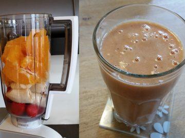 Smoothie van aardbei banaan en sinaasappel