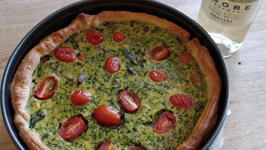 Quiche met spinazie en kipdijfilet